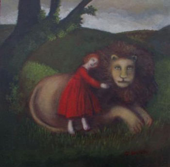 Nicola Slattery - Woman in Red with Lion